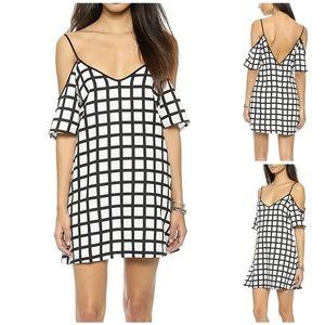 Re:named Cold-Shoulder Grid Pattern Dress